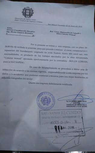 La Municipalidad intimó a la SAT