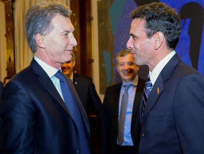 Macri recibió a Capriles, en pleno proceso de revocatoria de mandato de Maduro