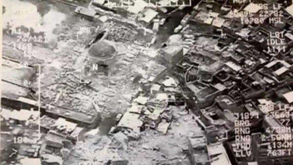 El Pentágono mostró imágenes de la mezquita destruida por ISIS