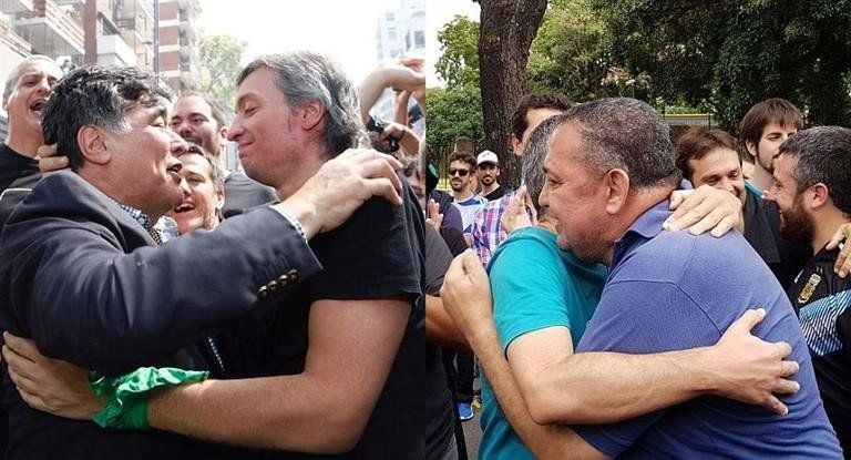 Luego de su excarcelación, Zannini y DElía marcharon a la Plaza de Mayo
