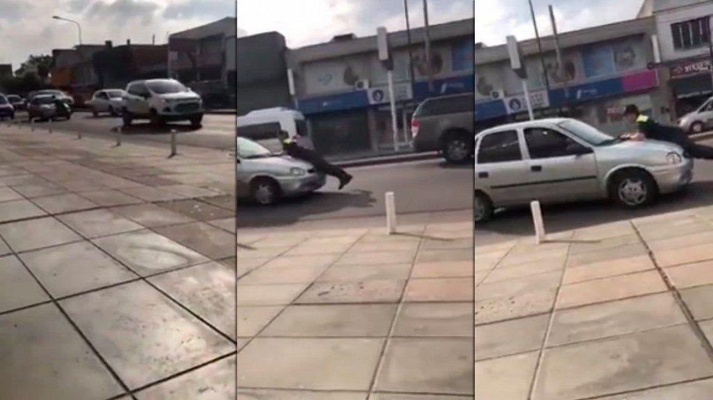 Un policía relizaba controles y fue arrastrado por un auto