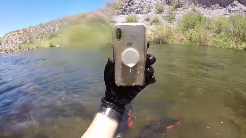 Encontró un IPhone X en un río y este sobrevivió dos semanas