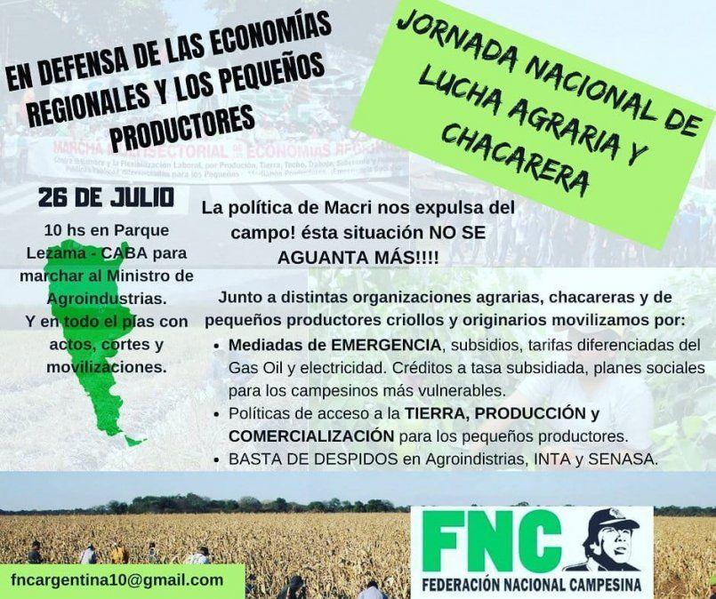 Organizaciones agrarias, productores y originarios se manifestarán para defender al campo
