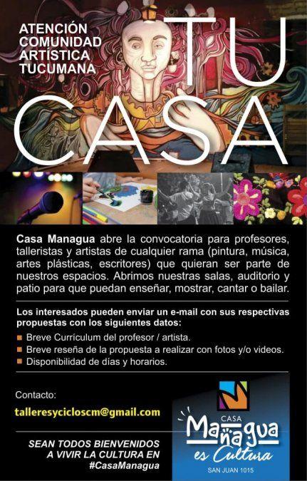 Casa Managua convoca  artistas