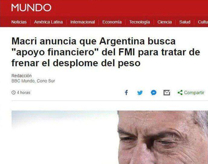 Macri y su anuncio sobre el FMI, reflejado en los medios del mundo