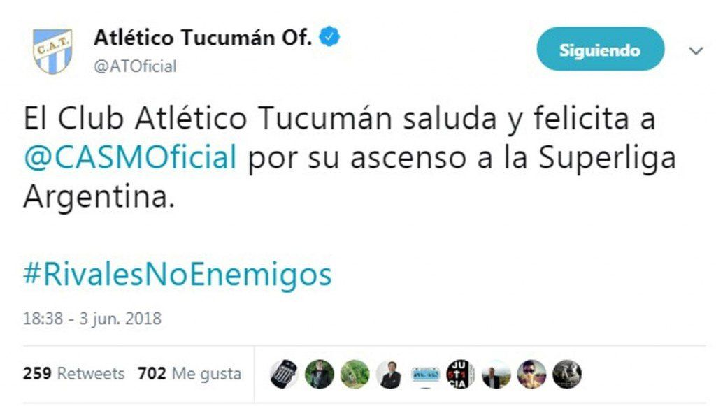 Atlético saludó a San Martín por el ascenso