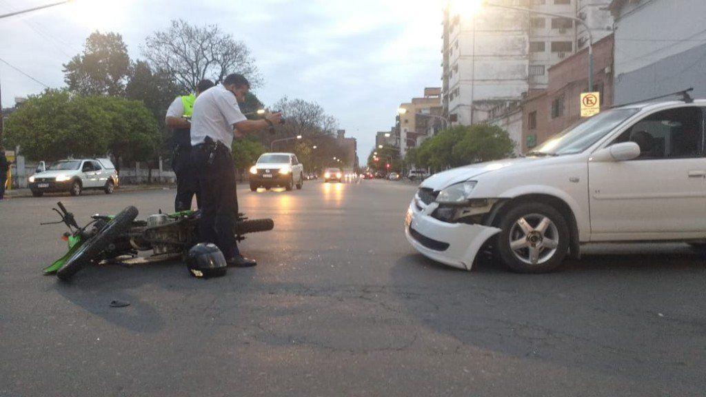 Accidente en la esquina de Marco Avellaneda y Santiago