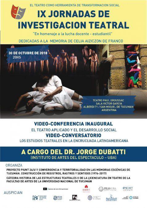 En Tucumán se realizará las IX Jornadas de Investigación Teatral