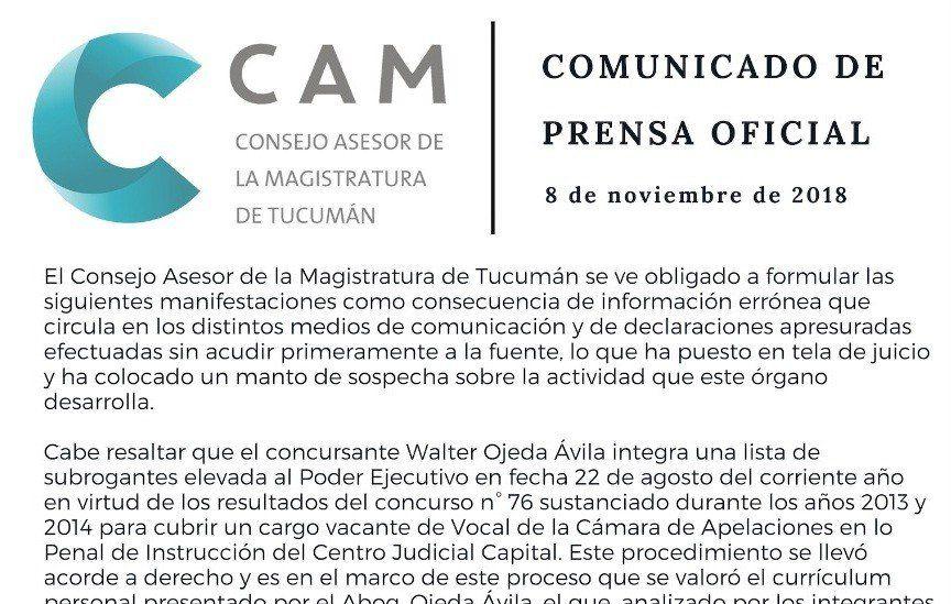 El Consejo Asesor de la Magistratura se pronunció sobre el caso Ojeda Ávila