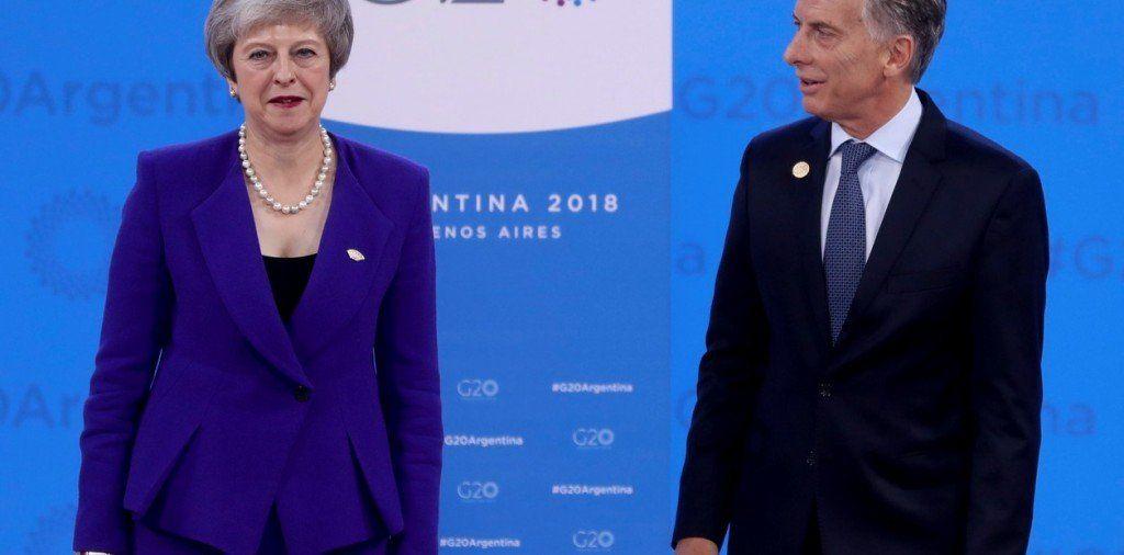 Theresa May brindó la primera conferencia de prensa de un premier británico en la Argentina
