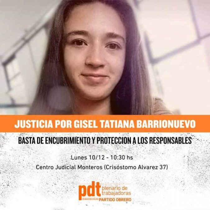 Marcharán para pedir justicia por Gisell Tatiana Barrionuevo