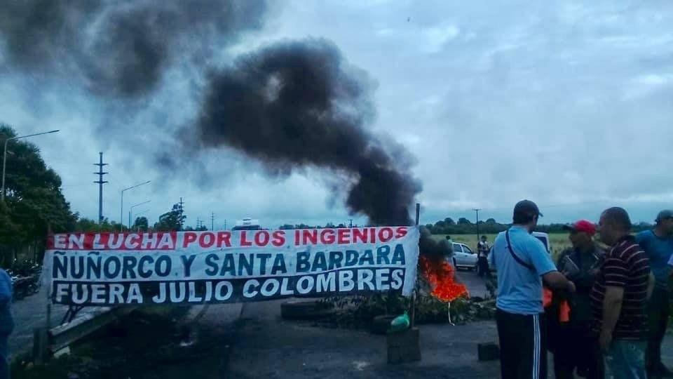 Obreros del ingenio Nuñorco cortan la ruta por sexto día consecutivo