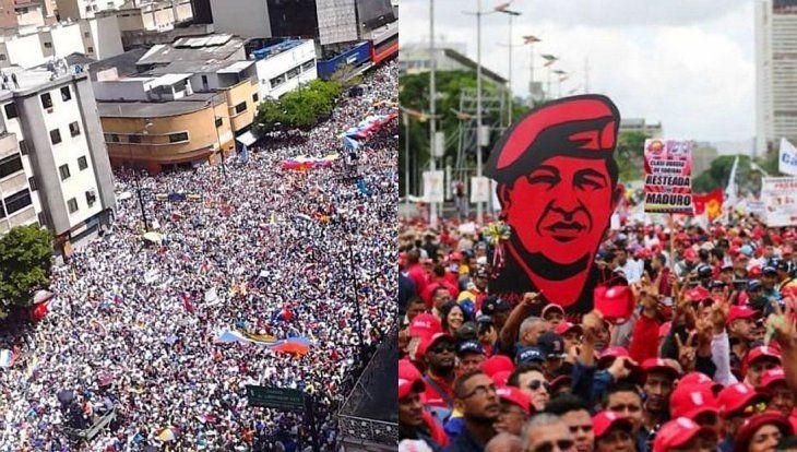 A favor y en contra de Maduro, miles de personas volvieron a marchar