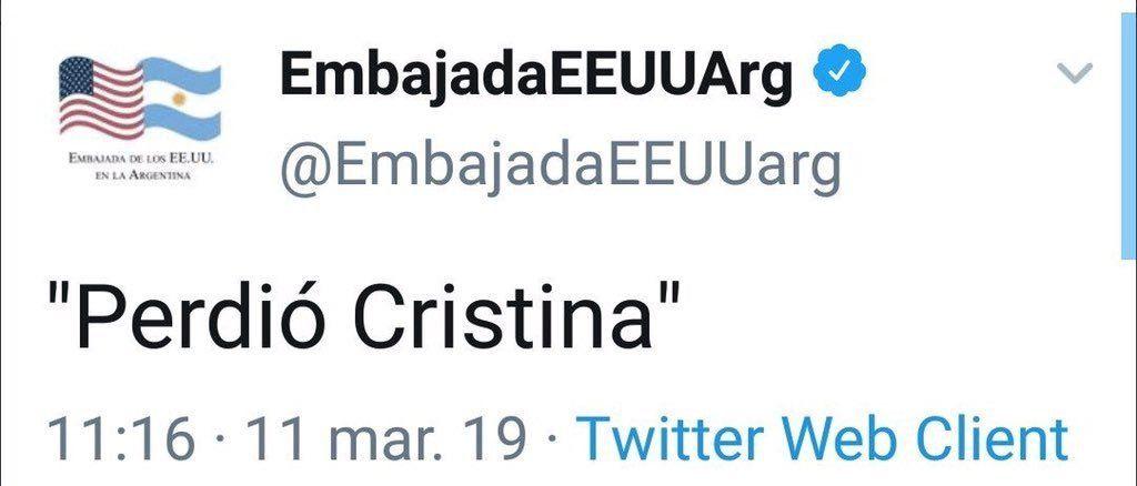 Hackearon el Twitter de la Embajada de Estados Unidos en la Argentina: Perdió Cristina