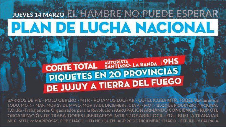 Barrios de Pie protestará en Tucumán y otras provincias