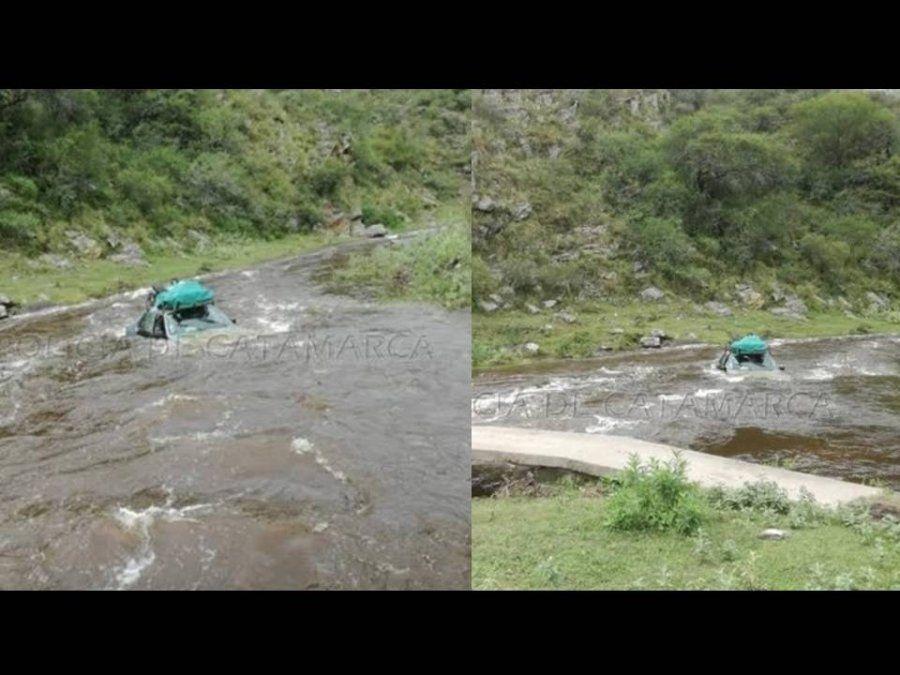 Catamarca: Salvó su vida al escapar del auto que era arrastrado por la corriente del río Ipizca