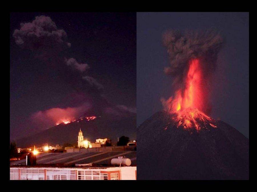 Alerta amarilla: con una nueva explosión, el volcán Popocatépetl  lanzó material incandescente