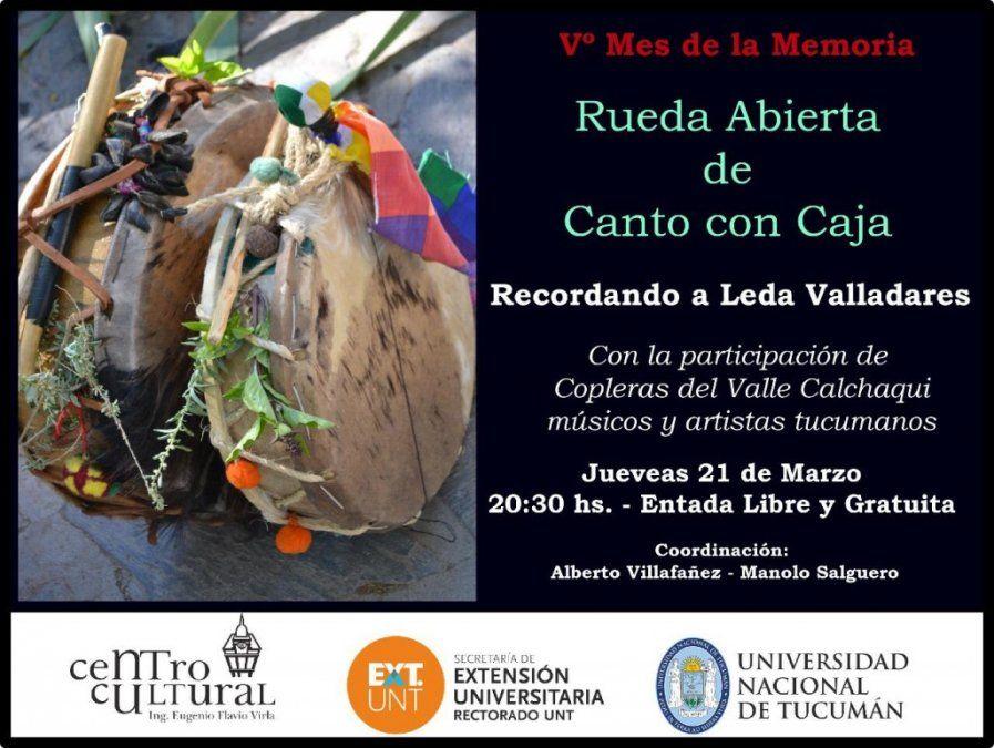 Recordarán a Leda Valladares con una rueda abierta de canto con caja