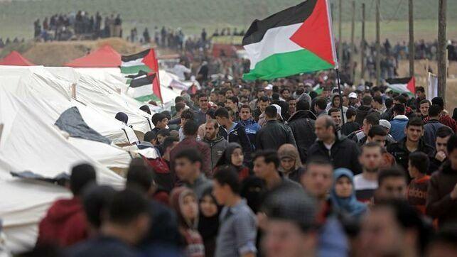 Palestinos protestan en el primer año de la Gran Marcha de Retorno