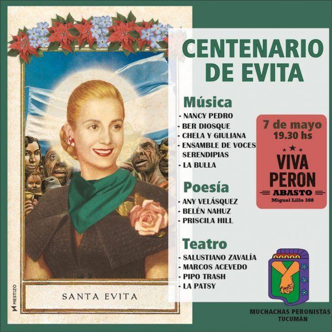 A 100 años del natalicio de Eva Perón, las Muchachas Peronistas la homenajearán