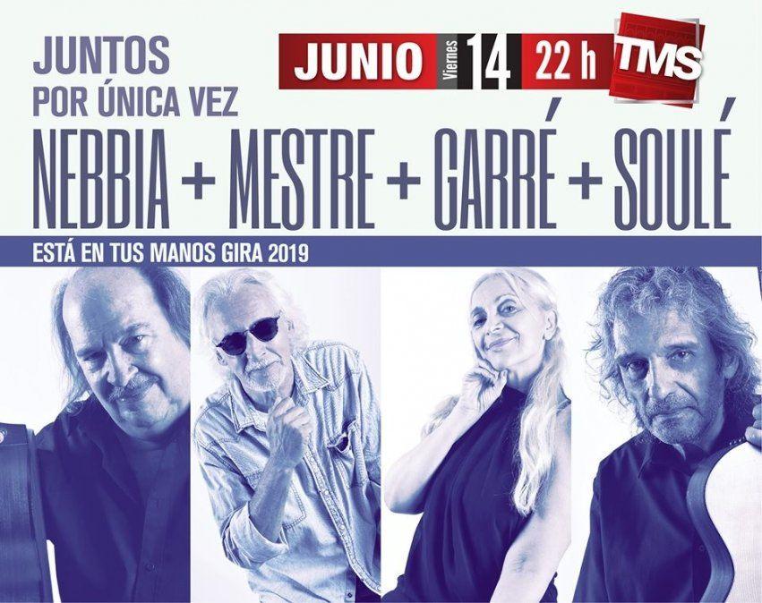 Nebbia, Mestre, Garré y Soulé juntos en el Mercedes Sosa