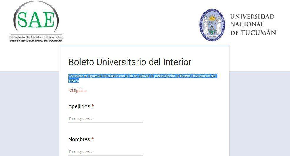 Está habilitado el sistema para la preinscripción del Boleto Universitario del Interior