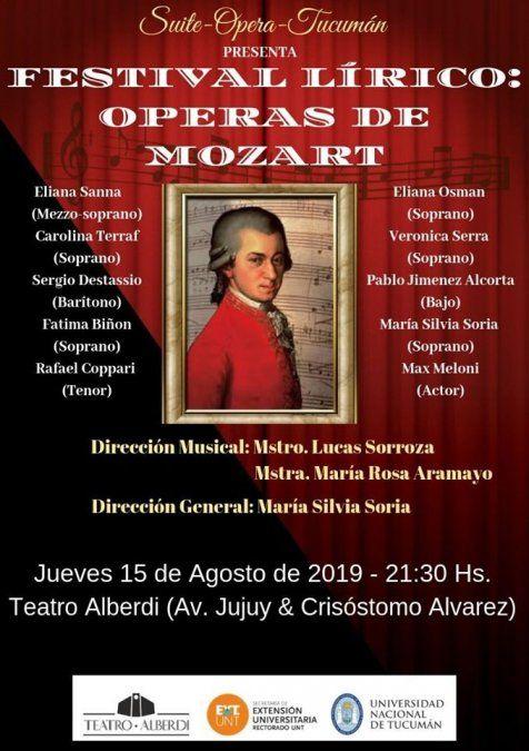 Se escucharan las Operas de Mozart en el teatro Alberdi