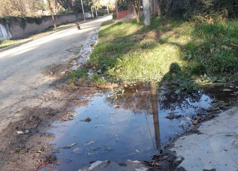 Piden que arreglen una pérdida de agua en Diagonal Norte y Perú