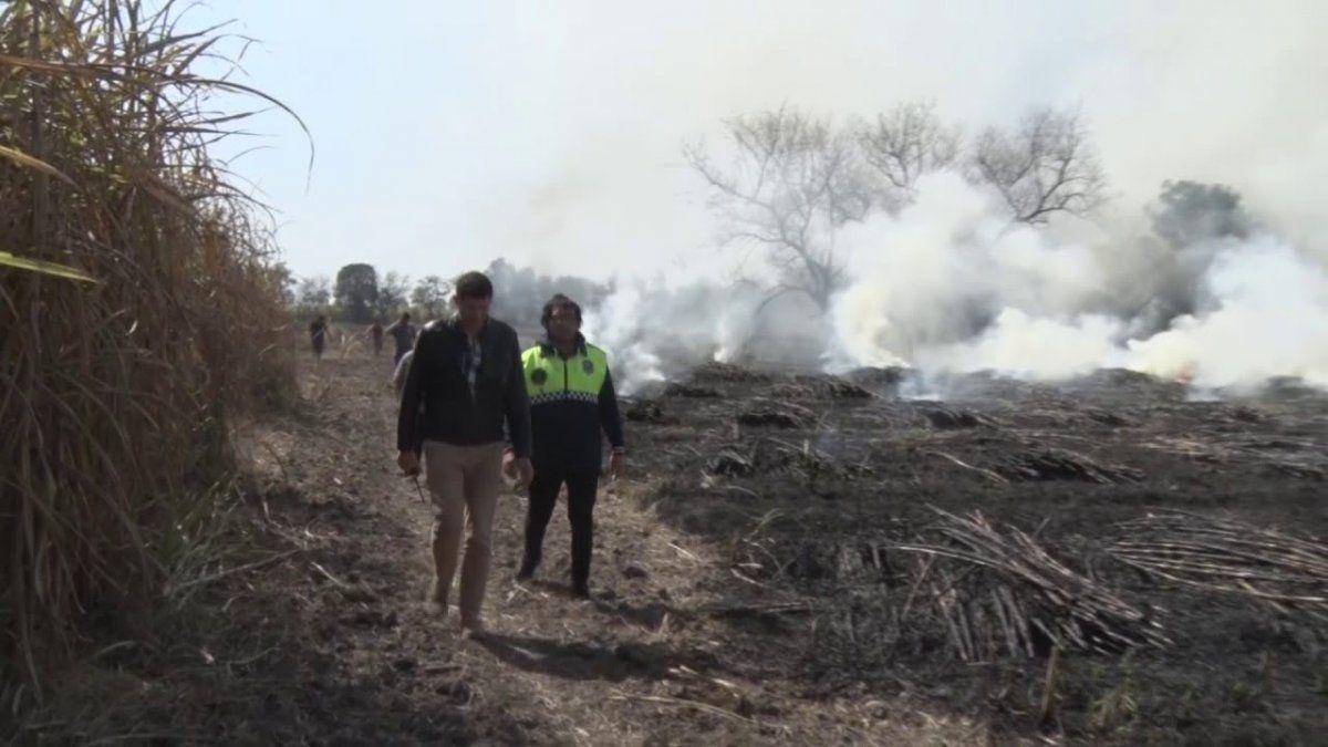 Defensa Civil trabaja a diario combatiendo la quema de caña.