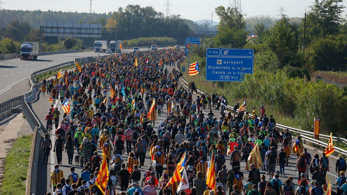 Huelga general y la marcha de la libertad de los independentistas