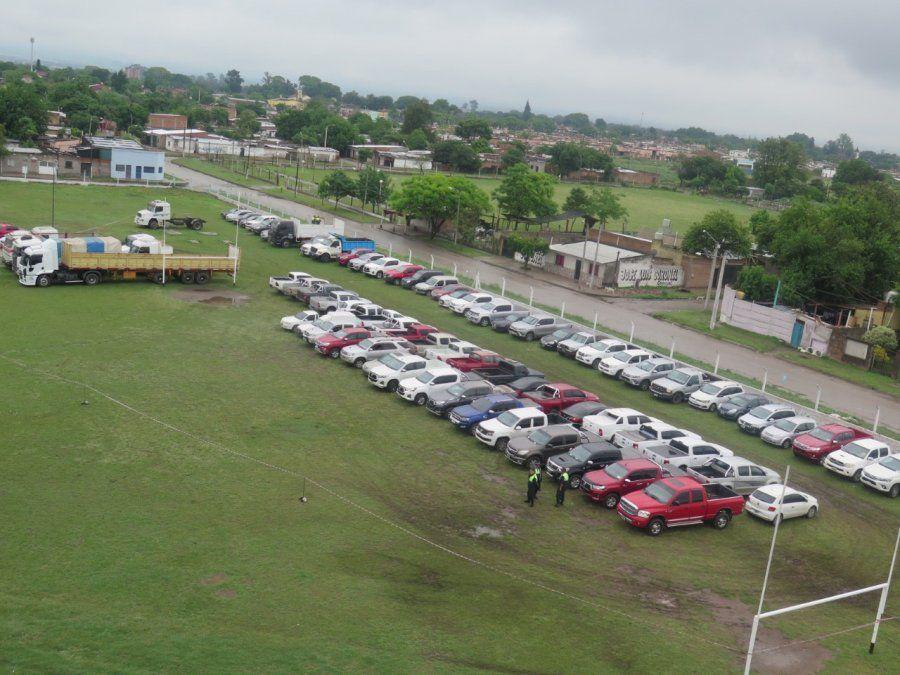 Todos los vehículos recuperados en el operativo.