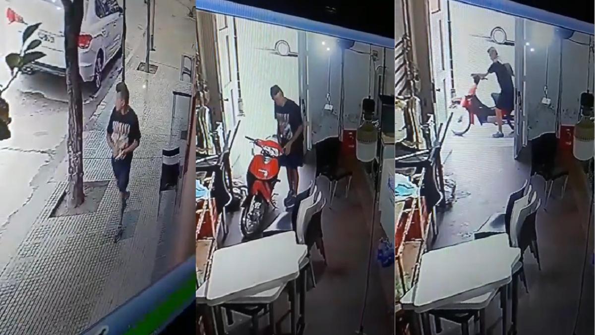 Cámara de seguridad detectó el robo de una moto en pleno centro