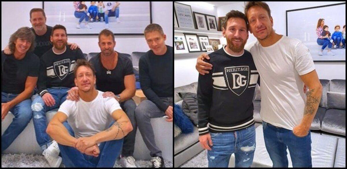 Nico Vázquez, Adrián Suar y Gustavo Bermudez en casa de Messi