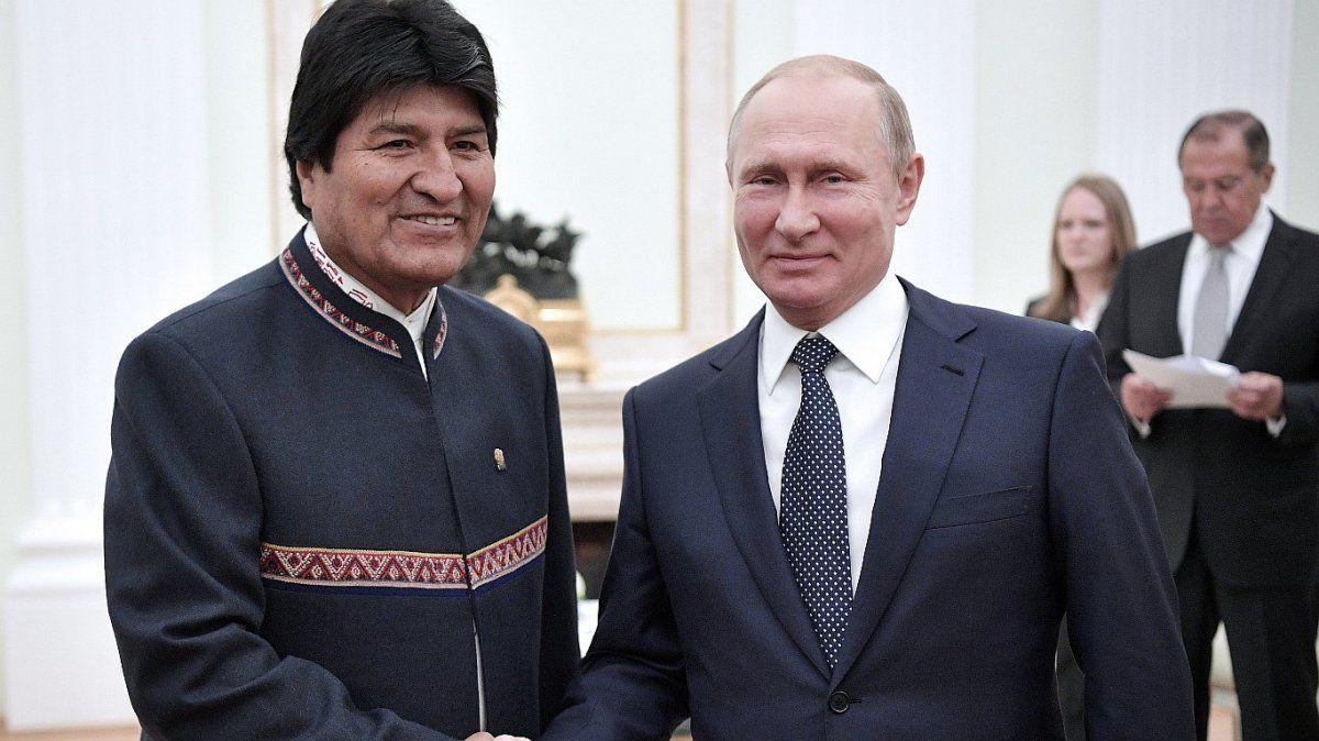 Evo Morales en su última visita a Vladimir Putin