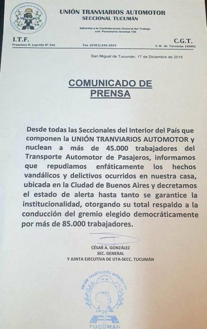 Desde UTA en el interior repudiaron la violencia en Buenos Aires