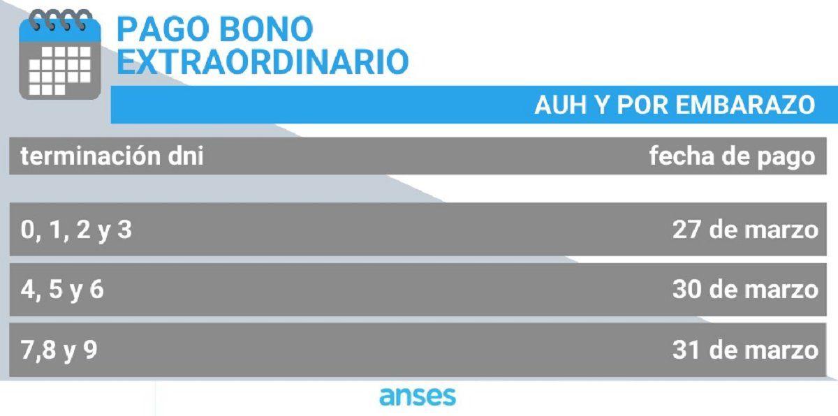 El cronograma de Anses para los pagos extraordinarios.