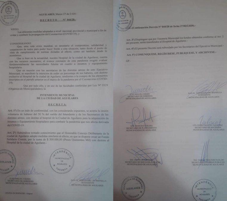 Aguilares: intendenta y concejales darán el 50% de su sueldo