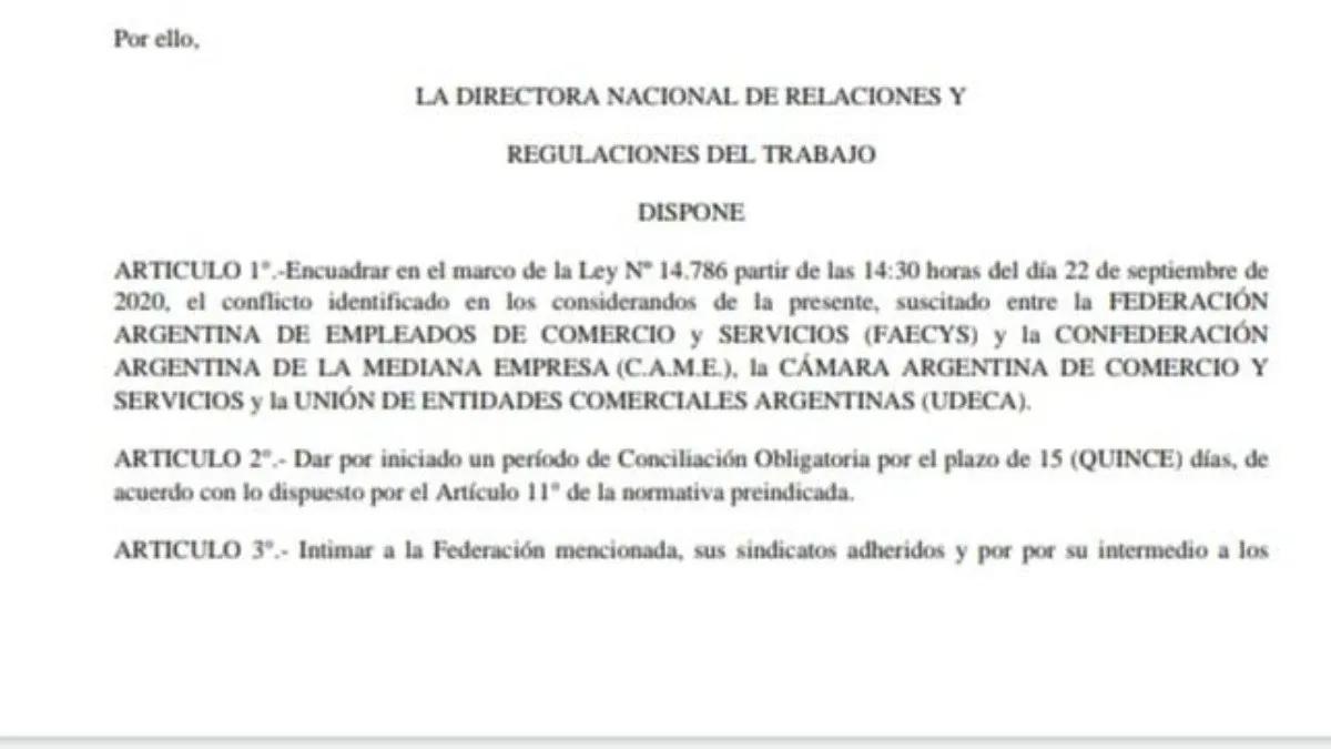 Comercio: conciliación obligatoria en el conflicto salarial
