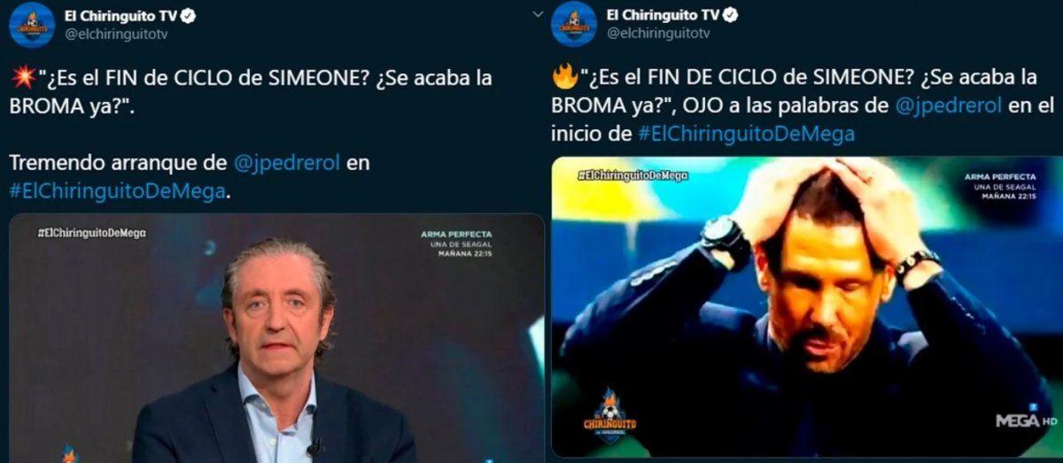 En España piden la cabeza del Cholo Simeone