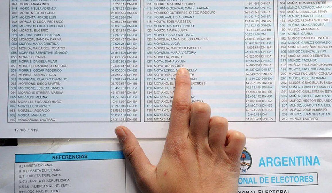 Consultá aquí el padrón para las Elecciones PASO 2021. Foto: diariouno.com.ar