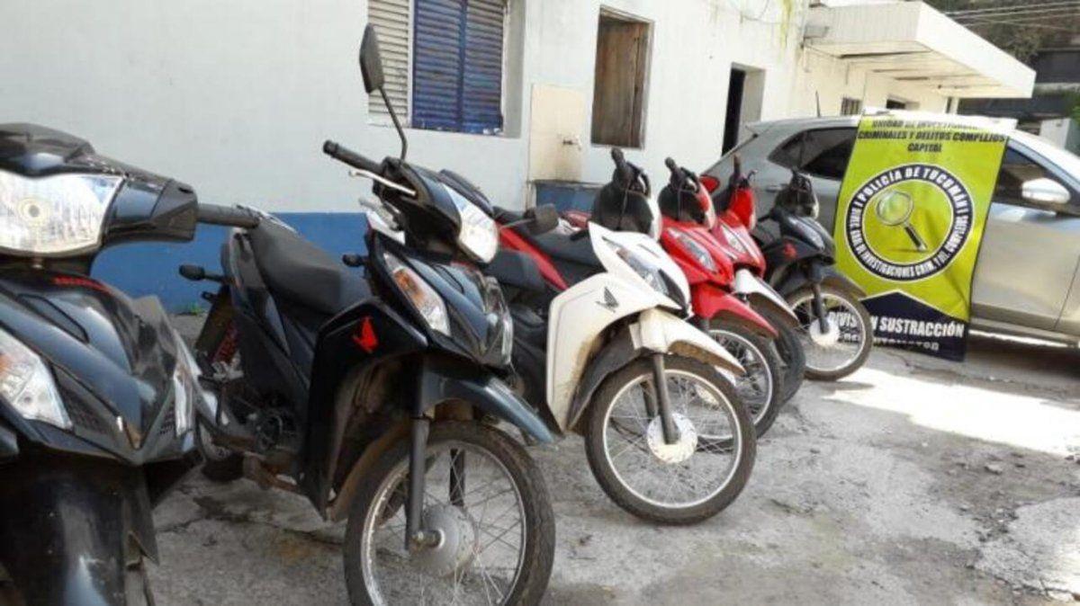 La policía recuperó seis motos y un auto mellizo