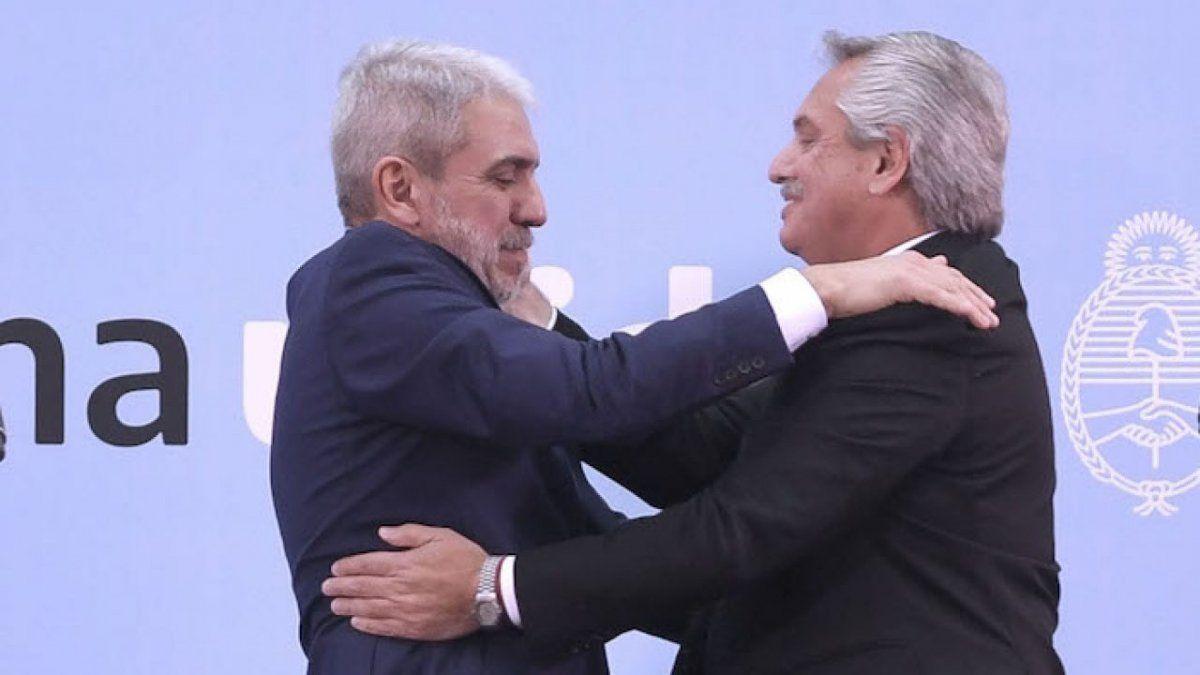 Aníbal Fernández junto al Presidente en su asunción.