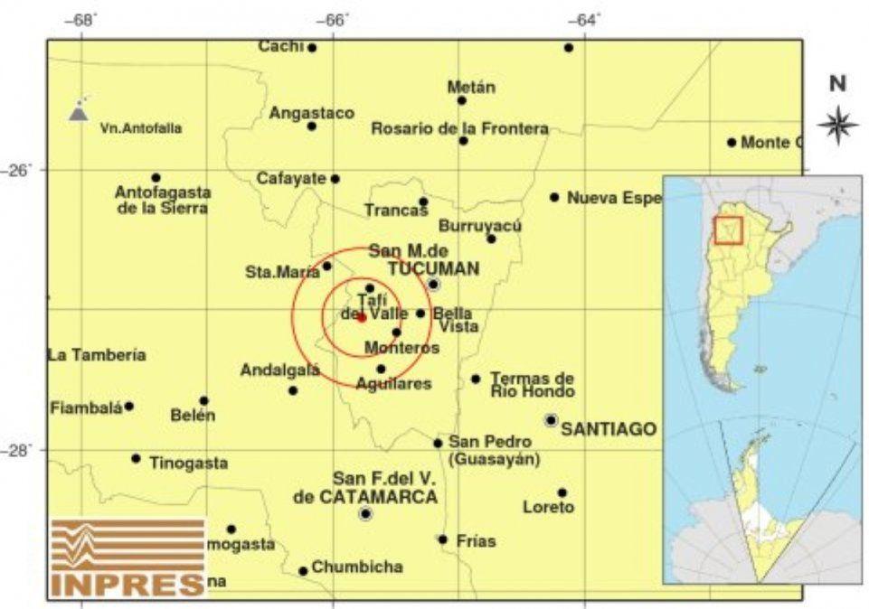 Un sismo de 4.2 sacudió Tucumán./Fuente: Inpres.