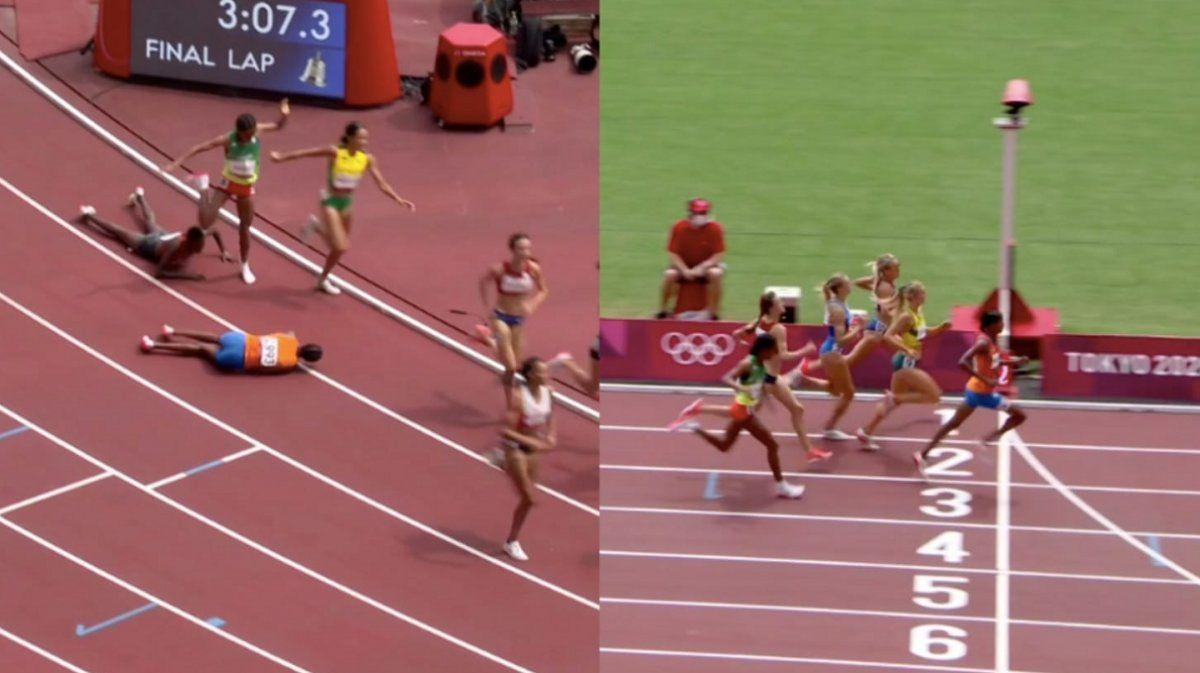 La atleta que se cayó faltando una vuelta y ganó la carrera