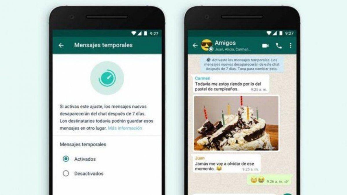 Llegan los mensajes temporales a Whatsapp