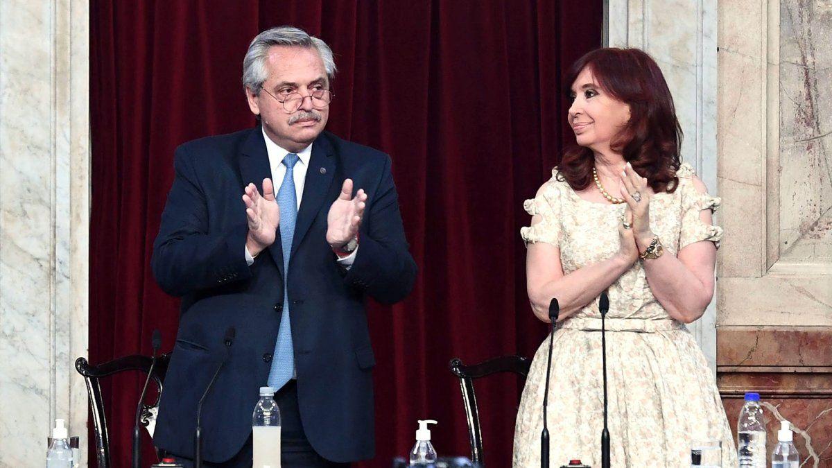 Alberto y Cristina en el Congreso. Foto Infobae