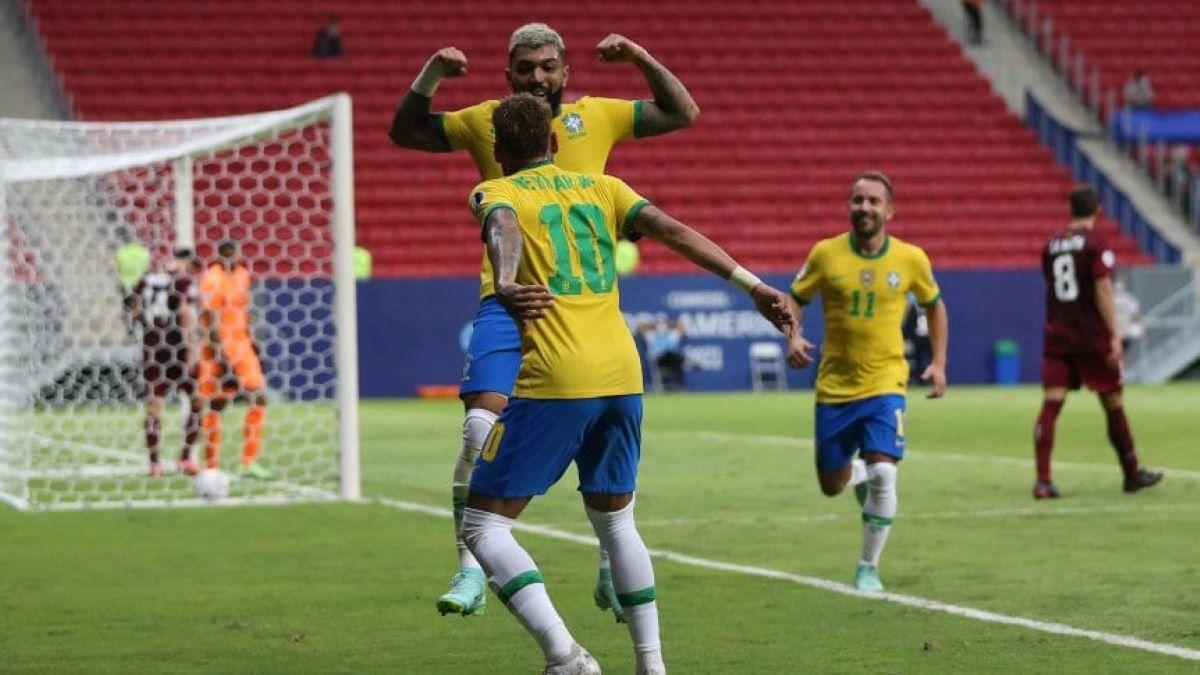 Brasil goleó a Venezuela en el partido inaugural