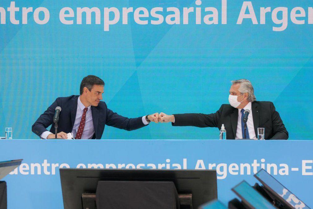 Alberto Fernández y Pedro Sánchez se reunieron con empresarios