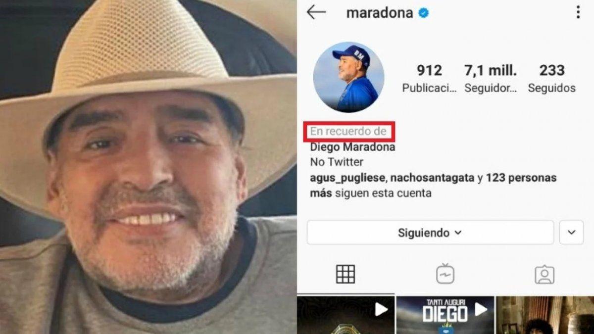 Instagram hizo un cambio en el perfil de Diego Maradona