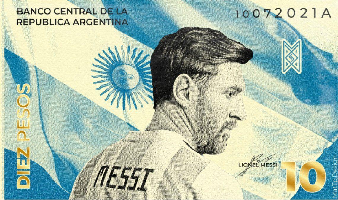 Joven taficeño diseñó un billete con la cara de Messi